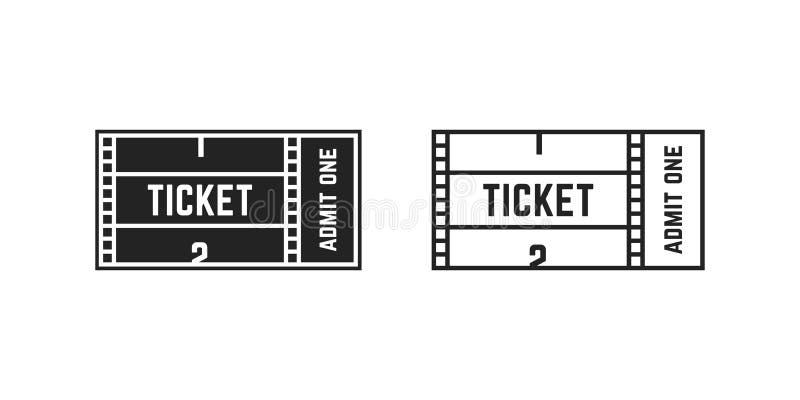 Uppsättning av bion eller online-filmbiljetten royaltyfri illustrationer
