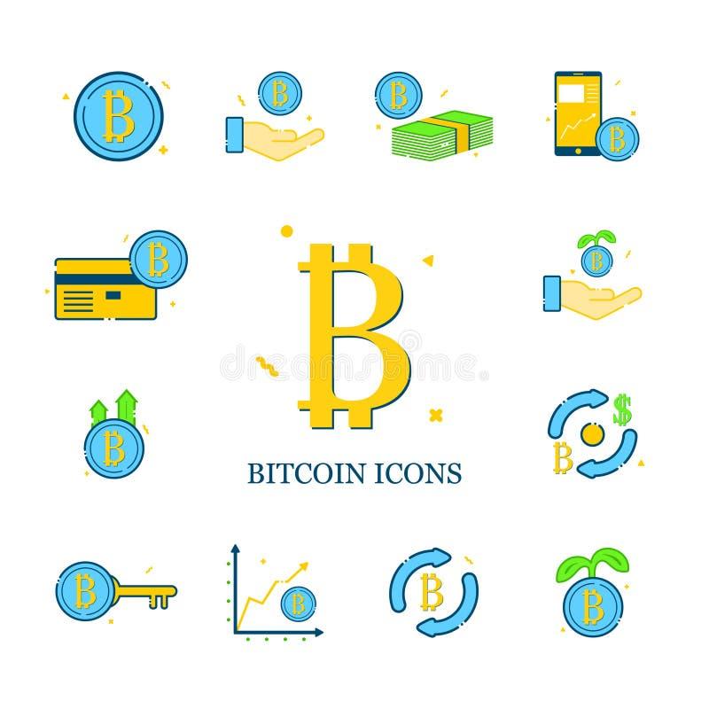 Uppsättning av bitcoinvektorsymboler royaltyfria bilder