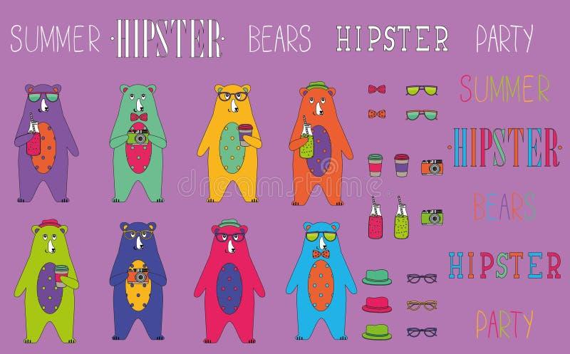 Uppsättning av björnen för hipstersommarparti royaltyfri illustrationer