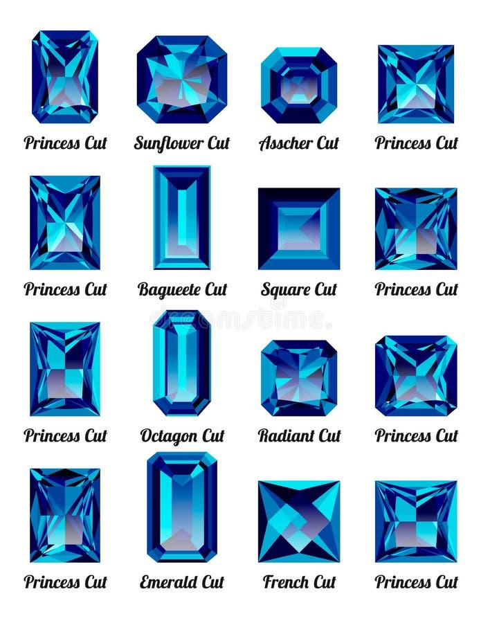 Uppsättning av blåa ametister med rektangelsnitt stock illustrationer