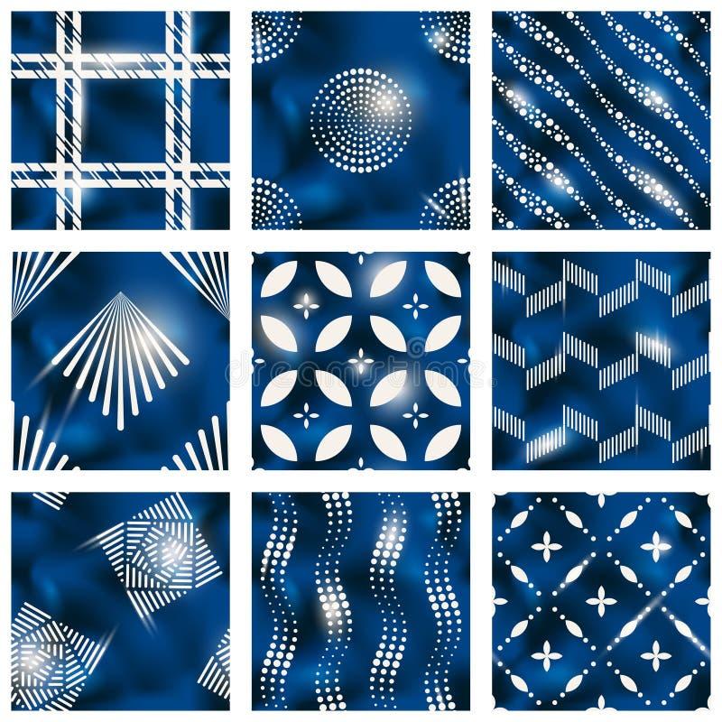 Uppsättning av blåa batikmodeller royaltyfri illustrationer