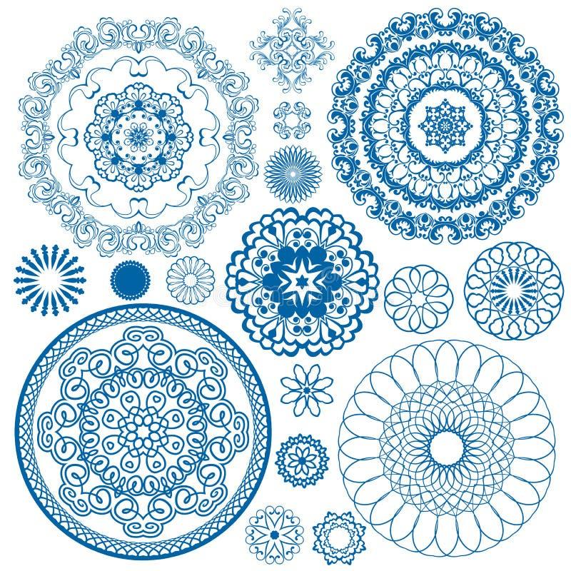 Uppsättning av blåa blom- cirkelmodeller royaltyfri illustrationer