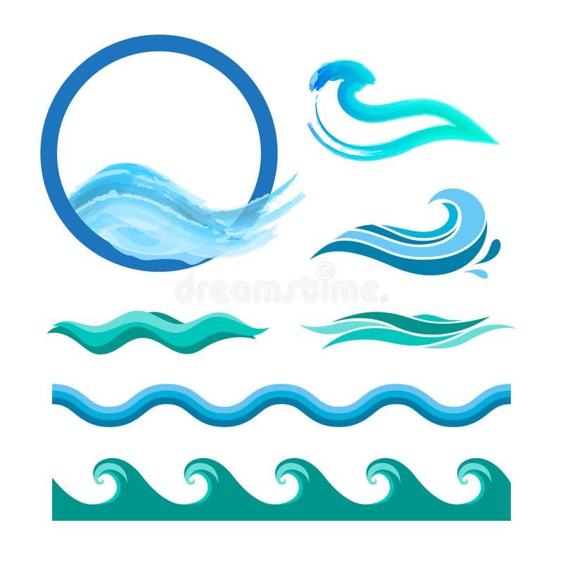 Uppsättning av blåa havvågor royaltyfri illustrationer