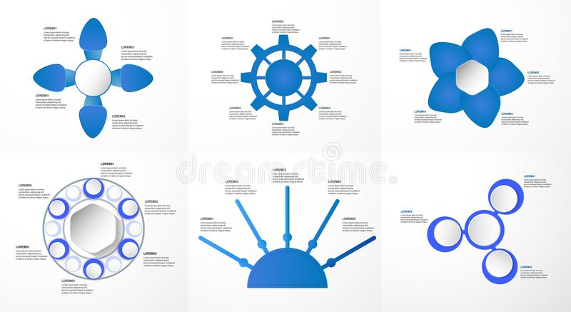 Uppsättning av blåa infographicsbeståndsdelar med papperssnittet och digital cra vektor illustrationer