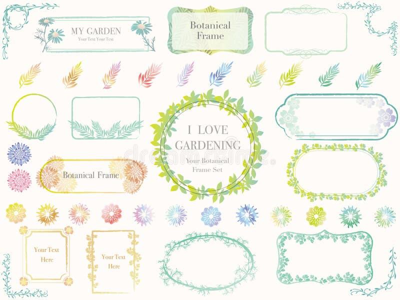 Uppsättning av blandade botaniska vårramar, vektorillustrationer arkivfoto