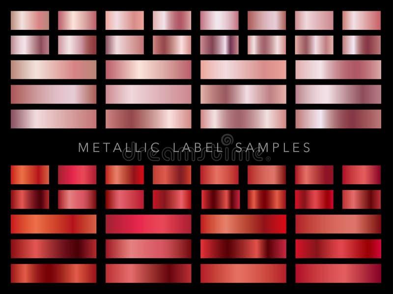 Uppsättning av blandade metalliska etikettprövkopior, vektorillustration arkivbild