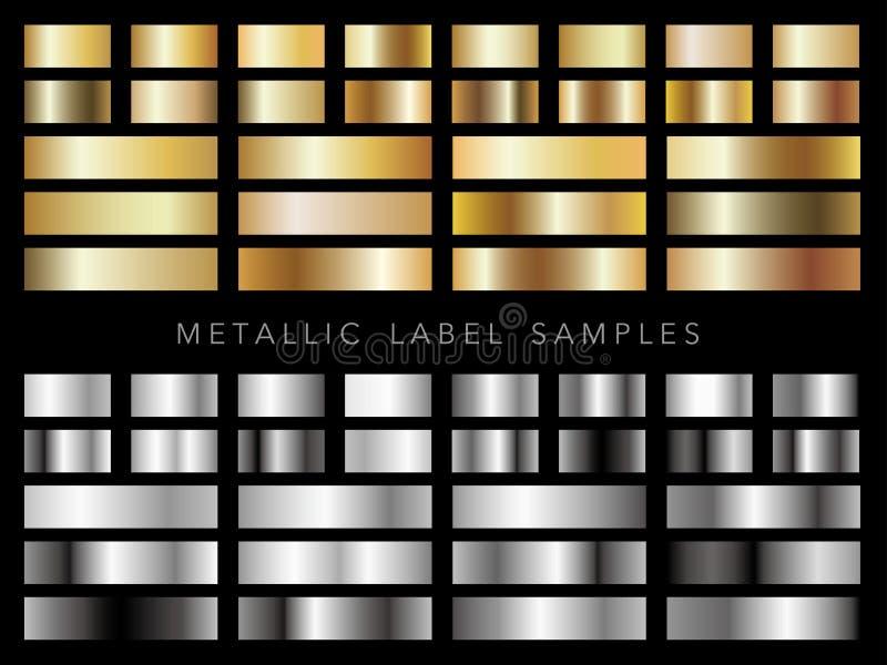 Uppsättning av blandade metalliska guld- och silveretikettprövkopior, vektorillustration arkivfoton