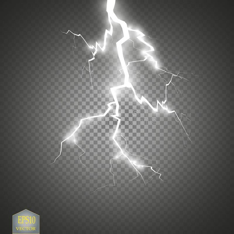 Uppsättning av blixtar Åska-storm och blixtar Magiska och ljusa belysningeffekter stock illustrationer