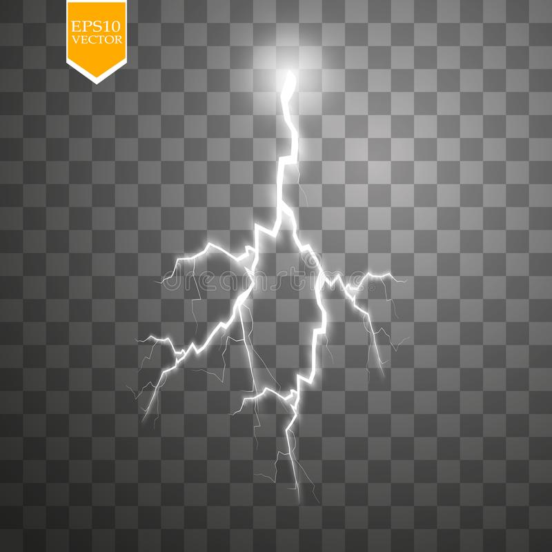 Uppsättning av blixtar Åska-storm och blixtar Magiska och ljusa belysningeffekter royaltyfri illustrationer