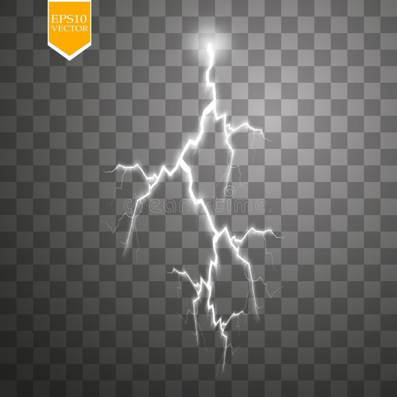 Uppsättning av blixtar Åska-storm och blixtar Magiska och ljusa belysningeffekter vektor illustrationer