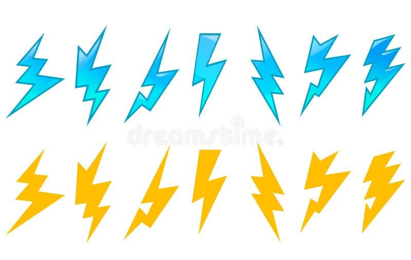 Uppsättning av blixtsymboler vektor illustrationer