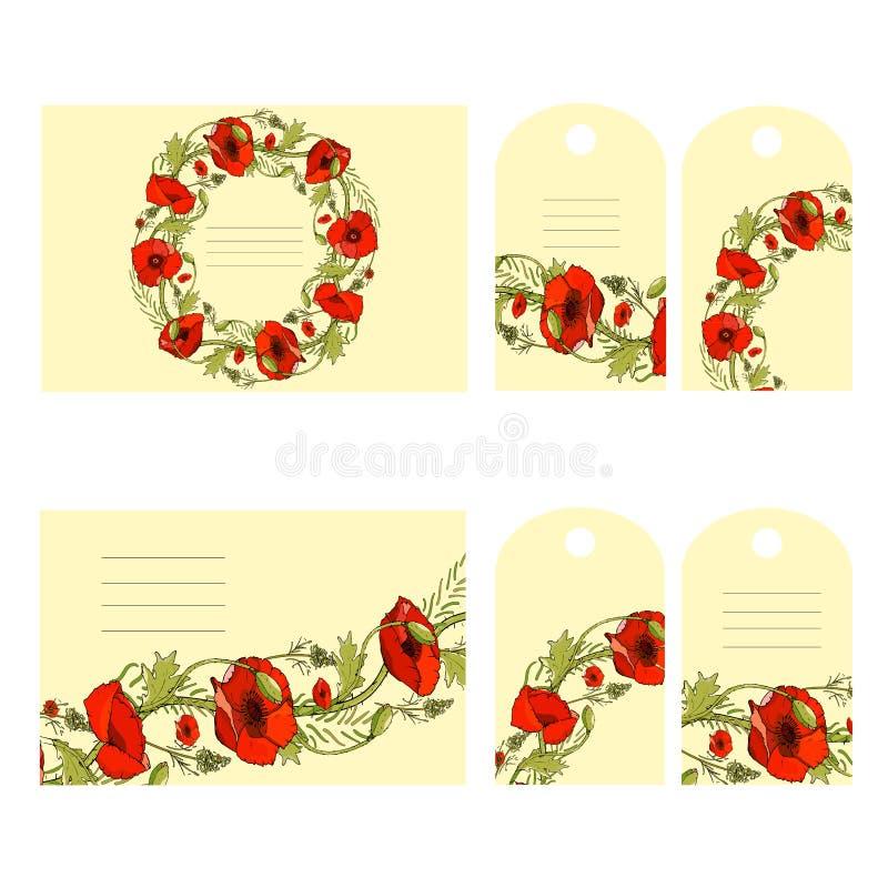 Uppsättning av 6 blom- affärskort och etiketter vektor illustrationer