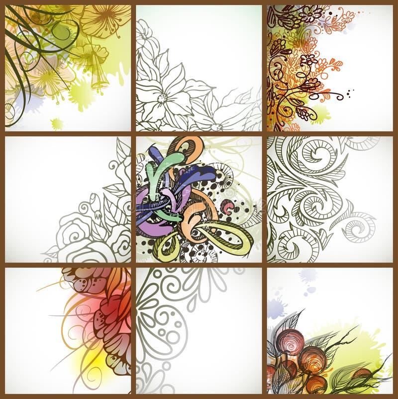 Uppsättning av blom- bakgrunder. stock illustrationer