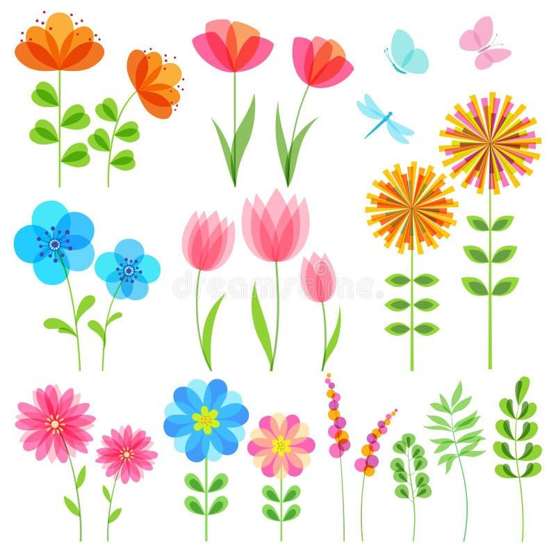 Uppsättning av blom- beståndsdelar vektor illustrationer