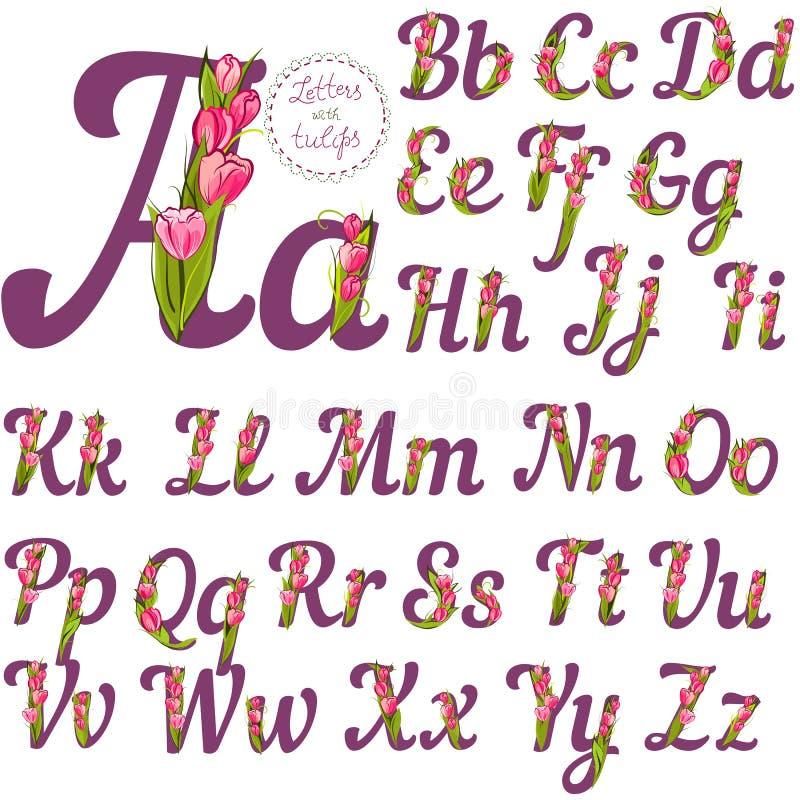 Uppsättning av blom- bokstäver royaltyfri illustrationer