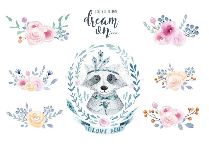 Uppsättning av blom- buketter för vattenfärgboho med tvättbjörnen akvarell royaltyfri illustrationer
