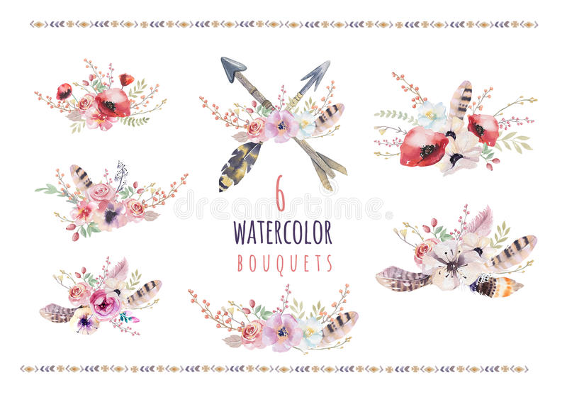 Uppsättning av blom- buketter för vattenfärgtappning Den Boho våren blommar och bladramen som isoleras på vit bakgrund: suckulent royaltyfri illustrationer