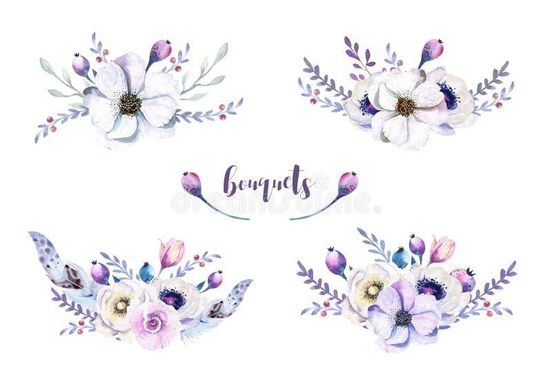 Uppsättning av blom- buketter för vattenfärgtappning med fjädern Boho spr vektor illustrationer