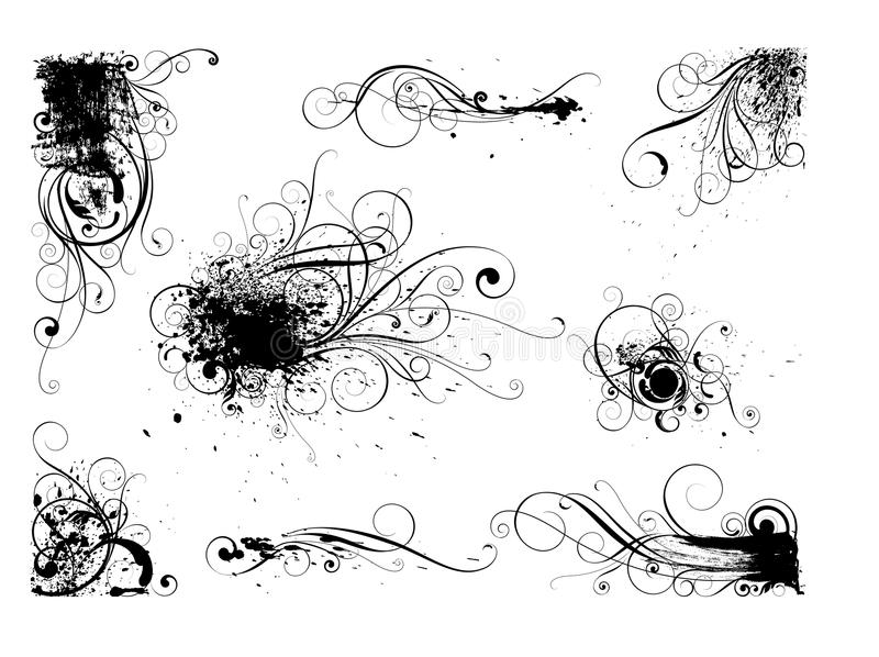 Uppsättning av blom- designer för grungefärgstänkfärgpulver stock illustrationer