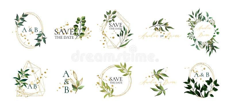 Uppsättning av blom- gifta sig logoer och monogram med eleganta gröna sidor royaltyfri illustrationer