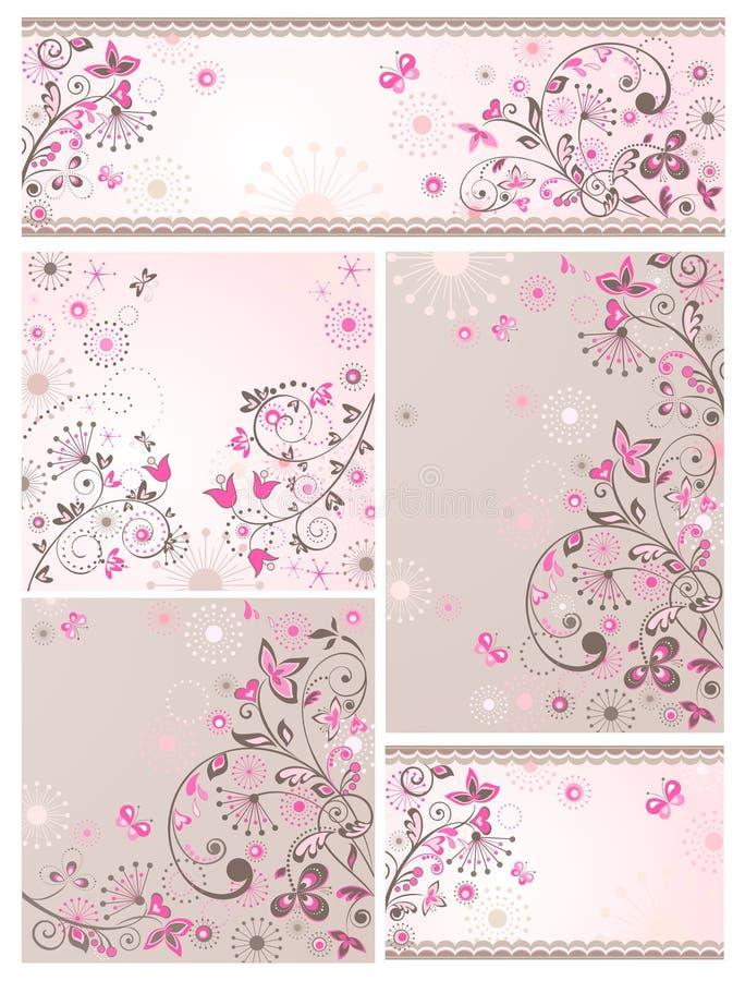 Uppsättning av blom- kort för hälsningabstrakt begrepp royaltyfri illustrationer