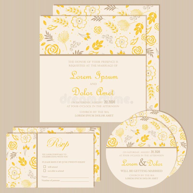 Uppsättning av blom- kort för tappningbröllopinbjudan royaltyfri illustrationer