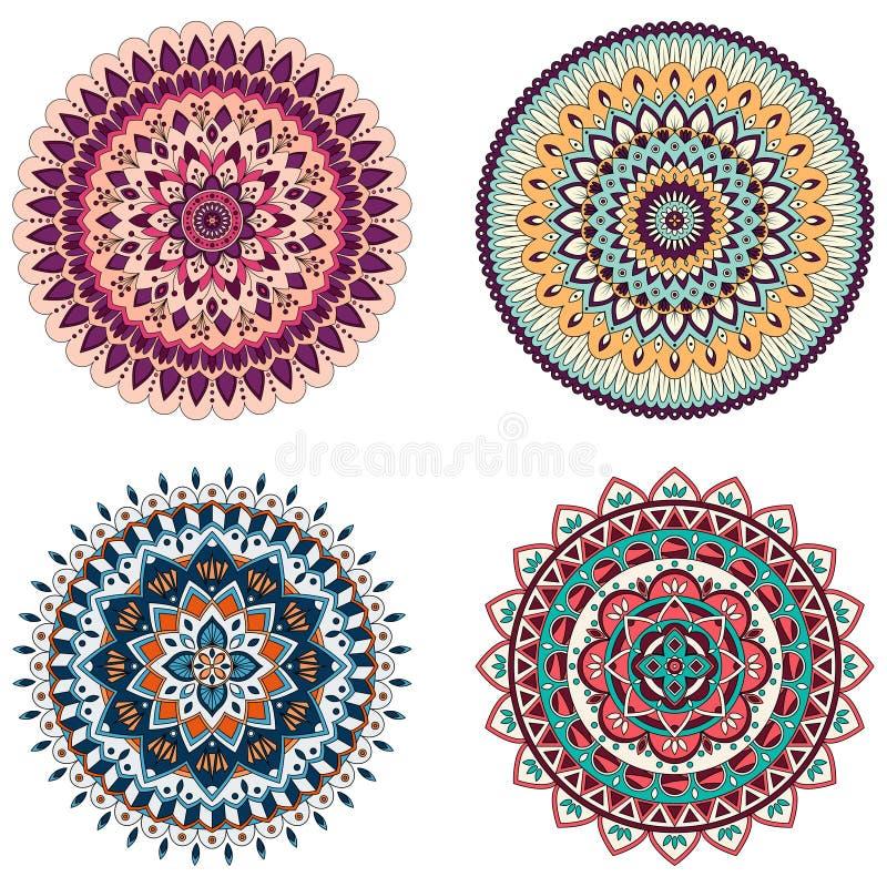 Uppsättning av blom- mandalas för färg, vektorillustration stock illustrationer