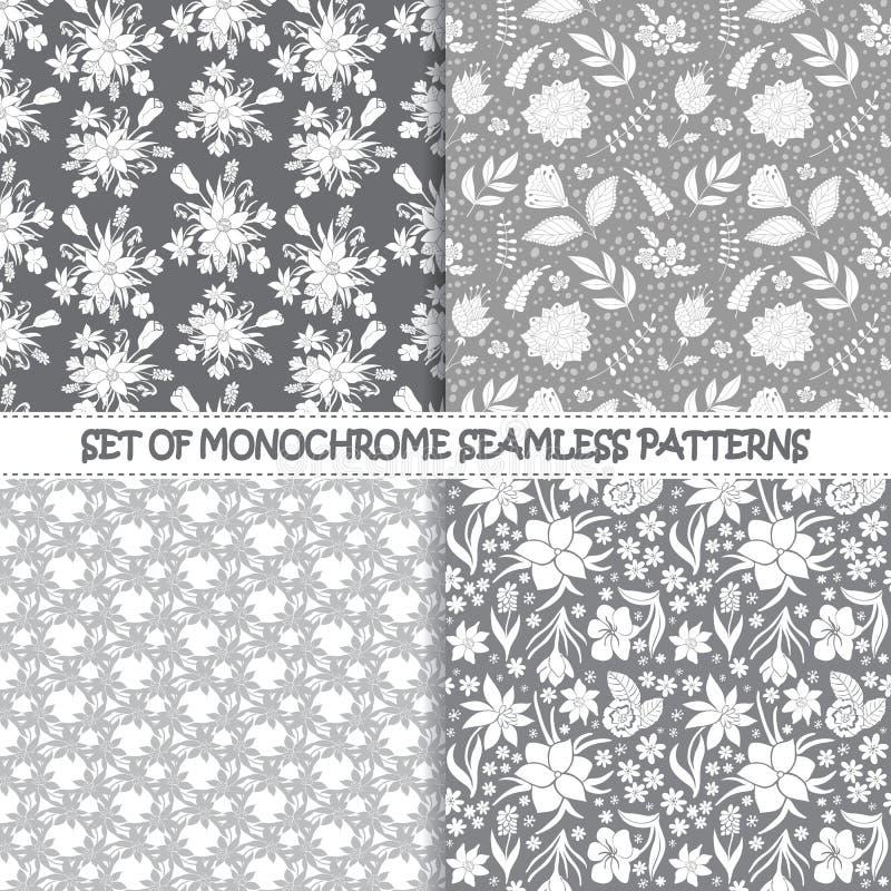 Uppsättning av blom- modeller för sömlös monokrom vektor stock illustrationer