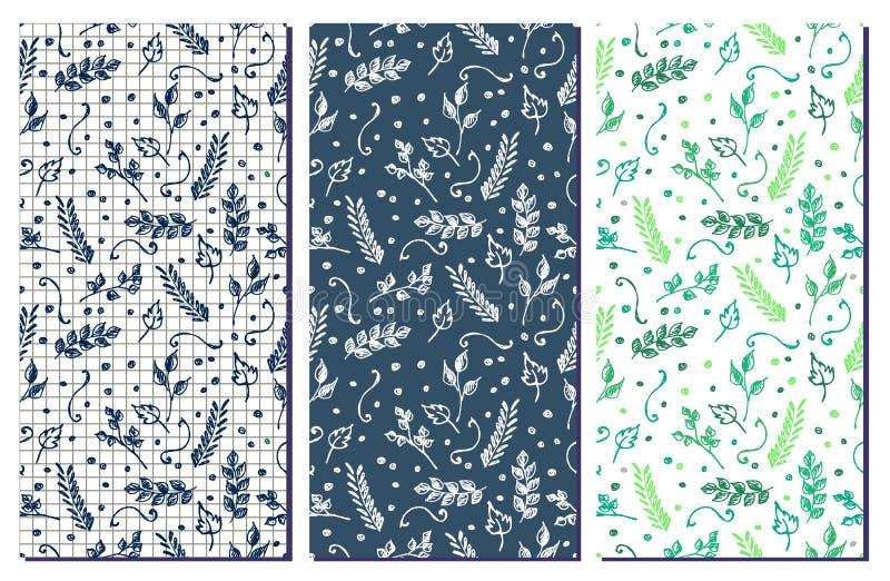 Uppsättning av blom- modeller för sömlös vektor Hand drog bakgrunder med blommor vektor illustrationer