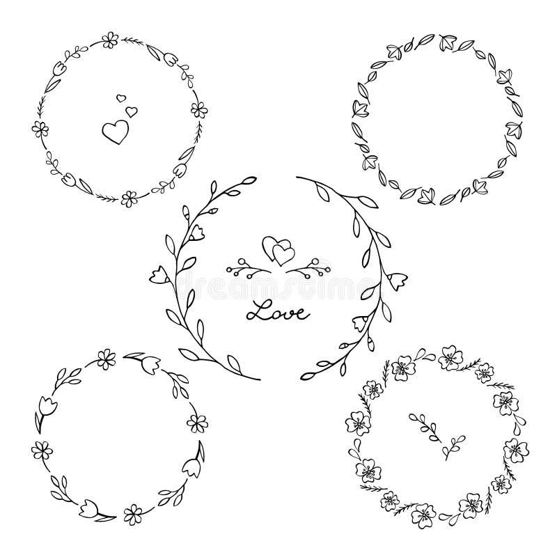 Uppsättning av blom- runda ramar Behagfulla kransar av lösa blommor royaltyfri illustrationer