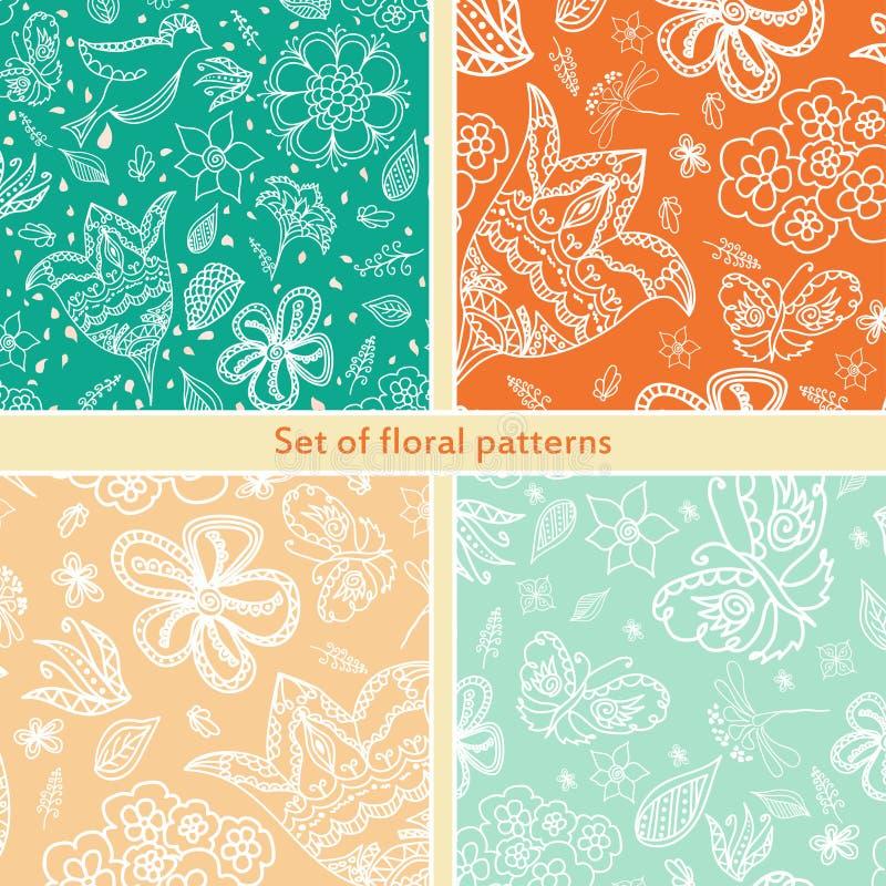 Uppsättning av blom- sömlös bakgrund för design retro dekorativ modell Texturera med blommor vektor illustrationer