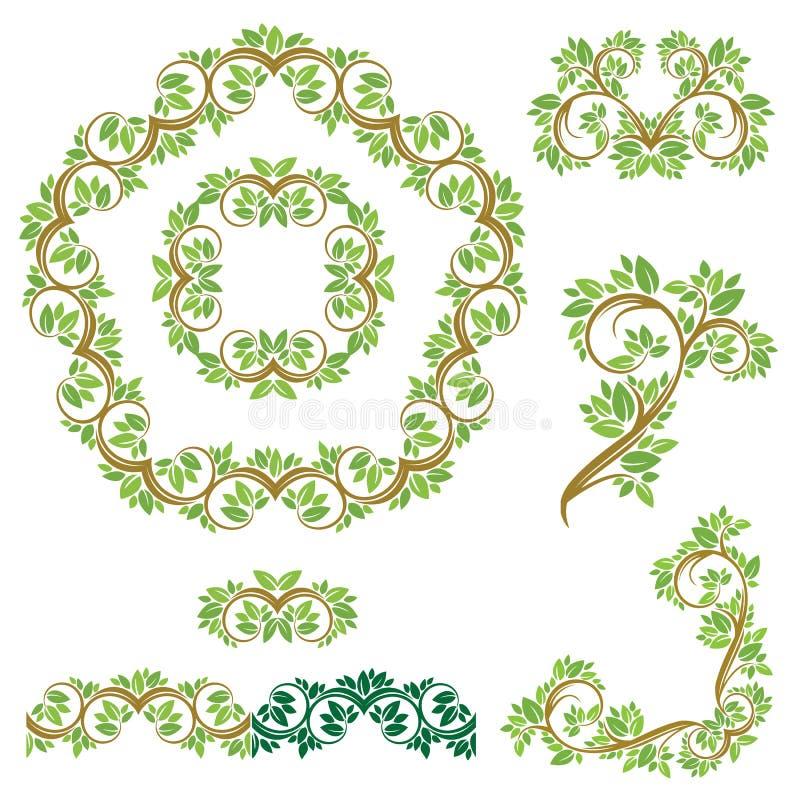 Uppsättning av blom- sömlösa detaljerade prydnader, gränser, ramar, vign royaltyfri illustrationer