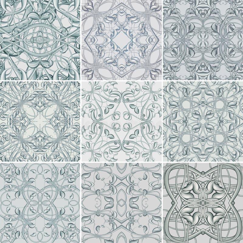 Uppsättning av blom- sömlösa modeller för silver för tyg vektor illustrationer