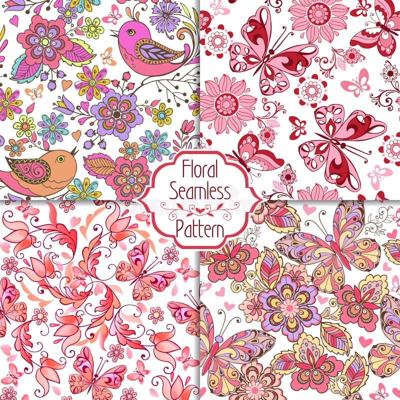 Uppsättning av blom- sömlösa rosa färgmodeller med fåglar, fjärilar och hjärtor Tappning blommar den sömlösa prydnaden royaltyfri illustrationer