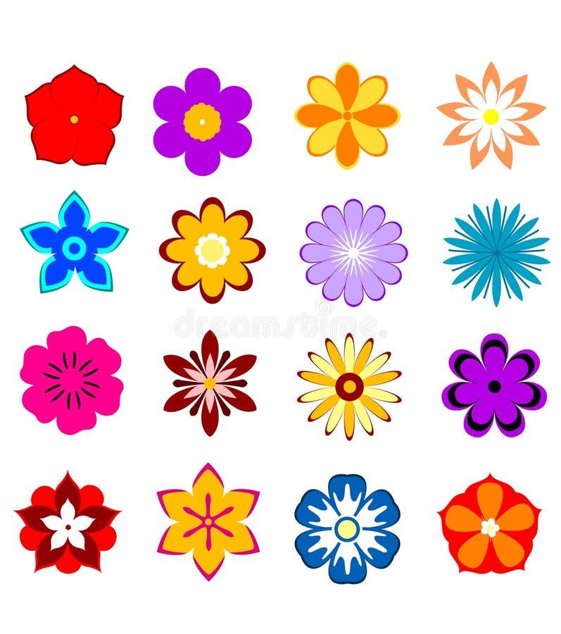 Uppsättning av blommablomningar och kronblad royaltyfri illustrationer