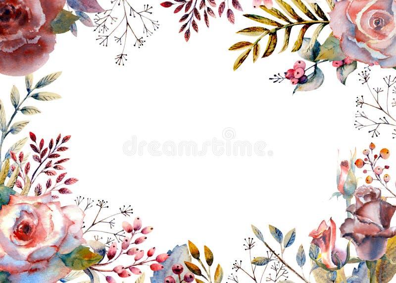 Uppsättning av blommafilialer Rosa färger steg blomman, gröna sidor som var röda Bröllopbegrepp med blommor Blom- affisch, inbjud stock illustrationer