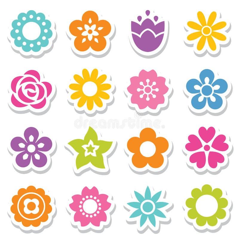 Uppsättning av blommaklistermärkear i ljusa färger vektor illustrationer