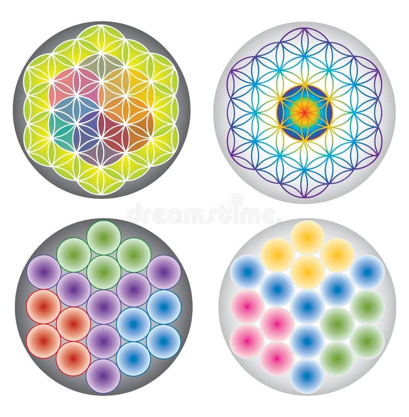 Uppsättning av blomman av livsymboler/mångfärgade symboler och regnbågefärger vektor illustrationer