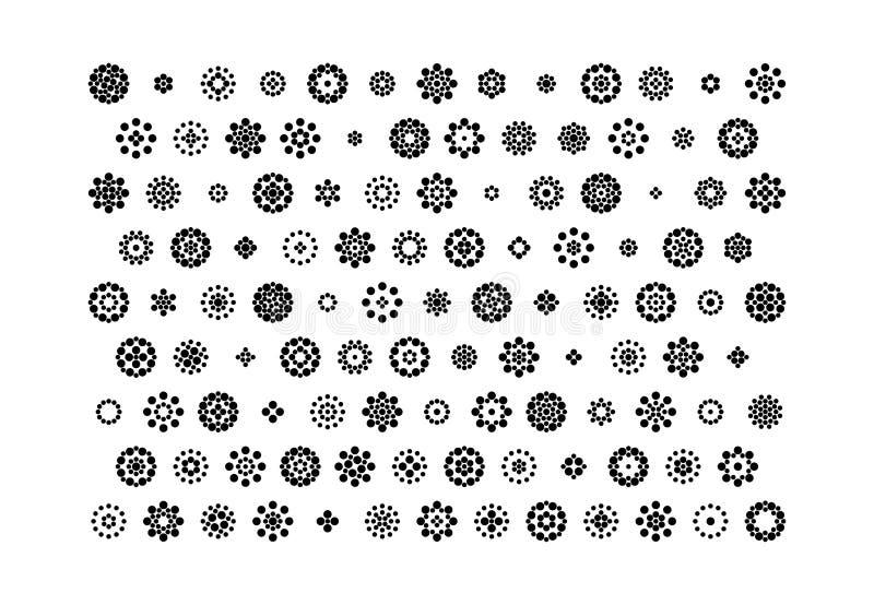 Uppsättning av blommor i etnisk stil stock illustrationer