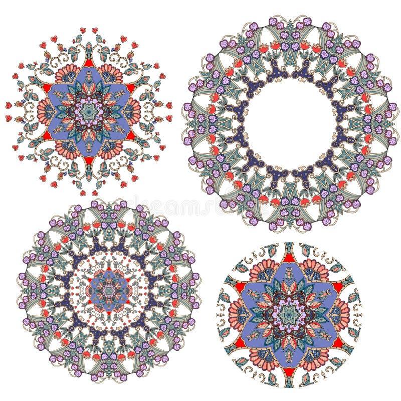 Uppsättning av blommor - mandalas rund blom- dekorativ modell vektor vektor illustrationer
