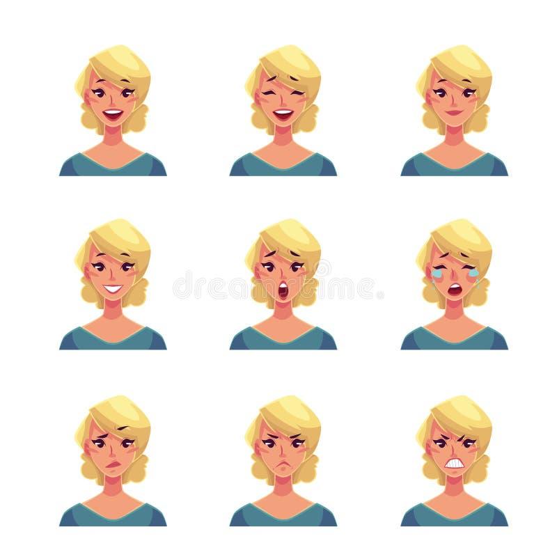 Uppsättning av blonda avatars för kvinnaframsidauttryck royaltyfri illustrationer