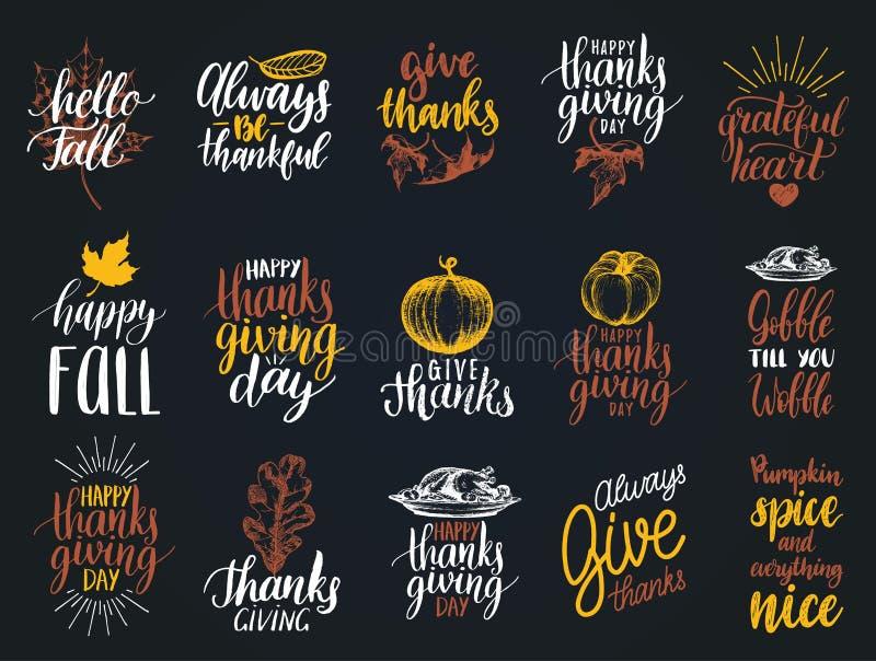 Uppsättning av bokstäver och illustrationer för tacksägelsedag Drog och handskrivna etiketter för vektor av den lyckliga nedgånge royaltyfri illustrationer