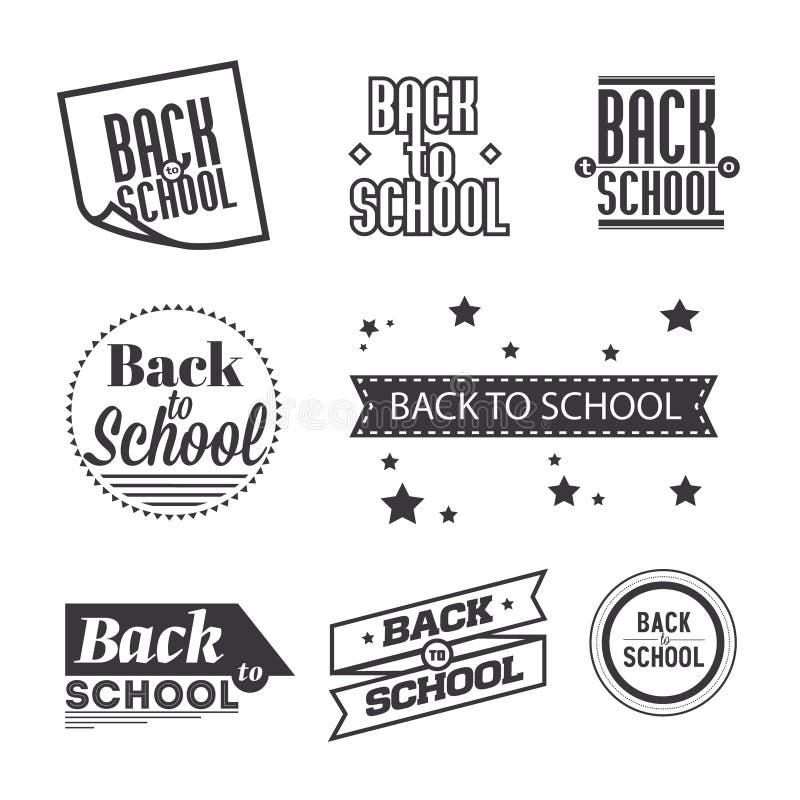 Uppsättning av bokstäver` tillbaka till skola`, typografidesignbeståndsdelar royaltyfri illustrationer