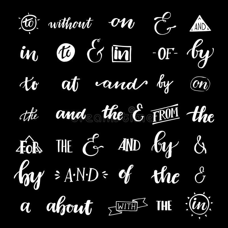 Uppsättning av bokstavsmarkerade et-tecken och slagordar för hand royaltyfri illustrationer