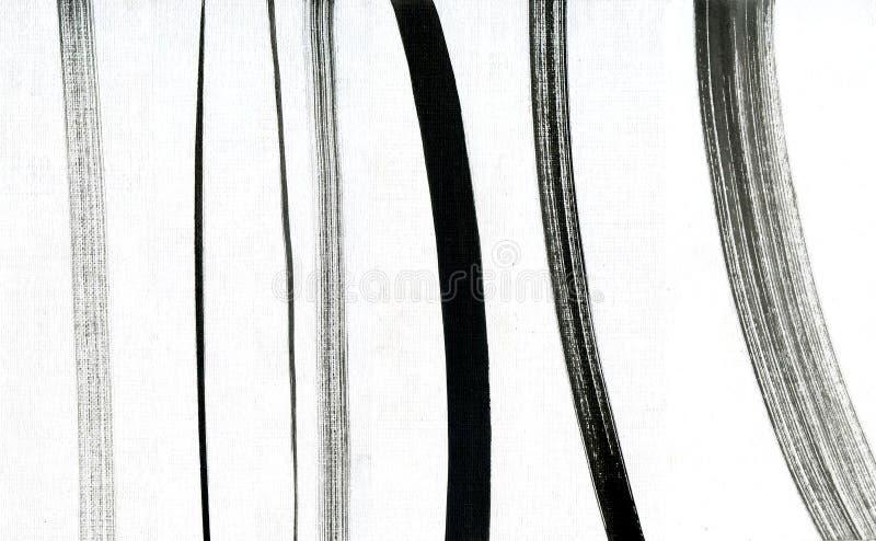 Uppsättning av borsteslaglängder Handgjorda linjer samling för Grunge Uppsättning av svart målade borsteslaglängder som isoleras  arkivbilder
