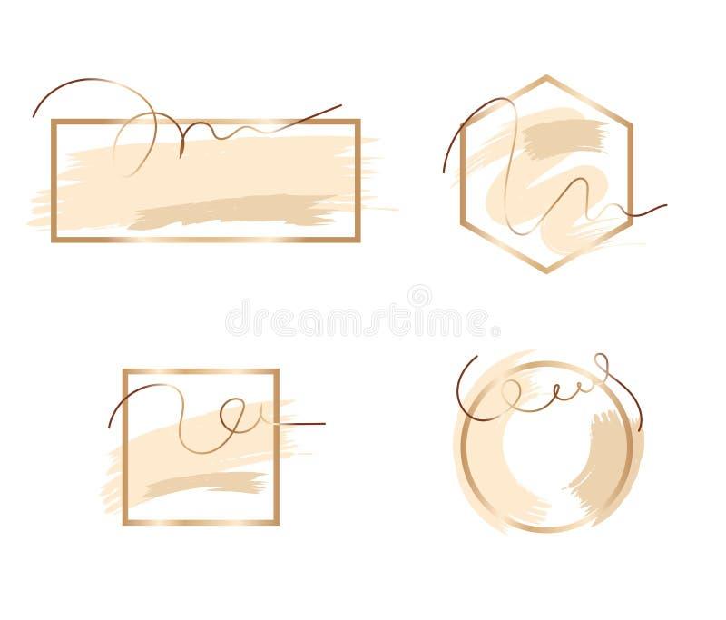 Uppsättning av borsteslaglängder i försiktiga signaler Försiktiga näcka pastellfärgade färger Rosa guld- ram abstrakt bakgrundsve royaltyfri illustrationer