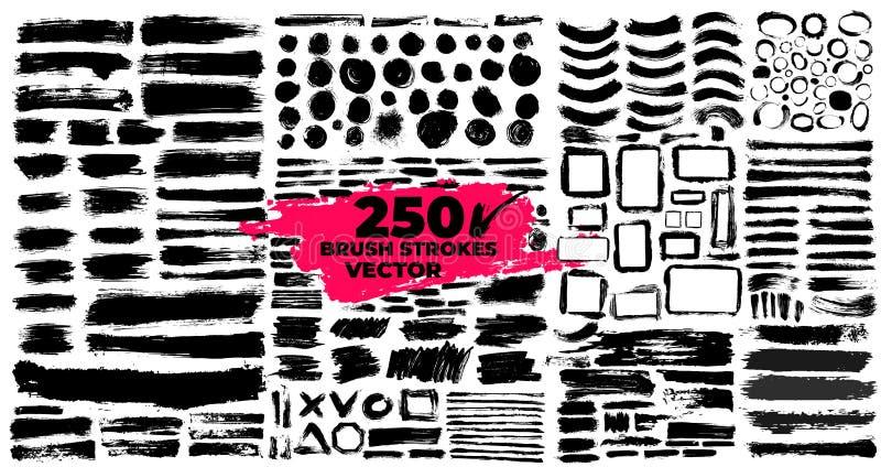 Uppsättning av borsteslaglängder Målarpenselaskar för text planlägg elementgrunge Smutsa ner texturbaner Ink splatters också vekt stock illustrationer