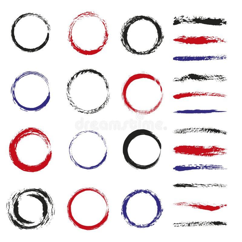 Uppsättning av borsteslaglängder och cirklar vektor illustrationer