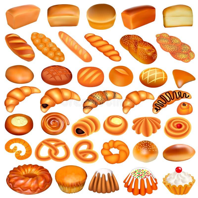 uppsättning av bröd och bakning som isoleras på vita lodisar vektor illustrationer