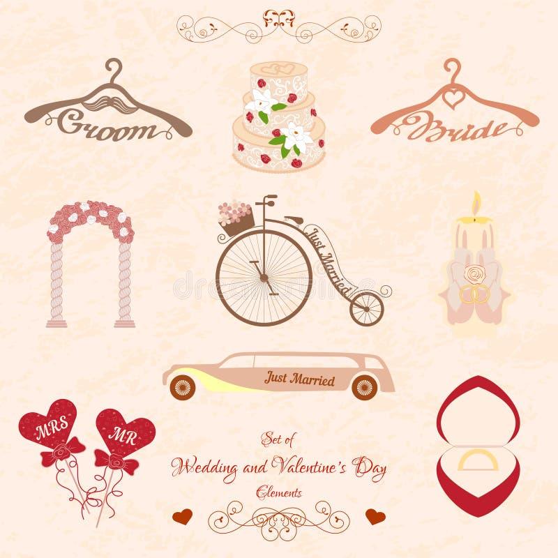 Uppsättning av bröllop och valentindagbeståndsdelar vektor illustrationer